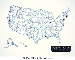 USA map technology communication abstract background - vector illustration