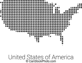 USA Map vector black dotted design