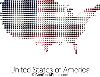 Vector Clipart Of USA Map Vector Colored Dotted Design USA - Color in usa map