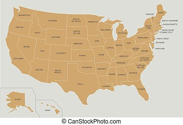USA Map vector illustration with country names in spanish. Editable and clearly labeled layers.