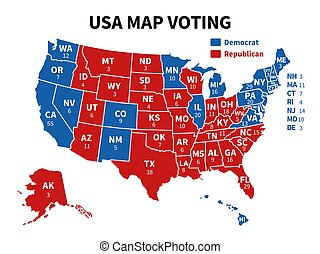 Usa map voting. Presidential election map each state ...