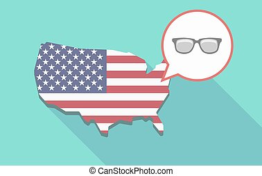 USA map with a glasses