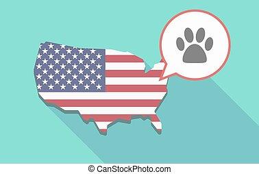 USA map with an animal footprint