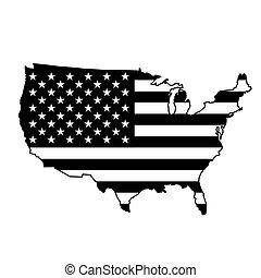 USA map with black flag
