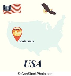 USA map with Death Valley Pin Travel Concept