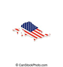 USA map with flag isometric 3d icon