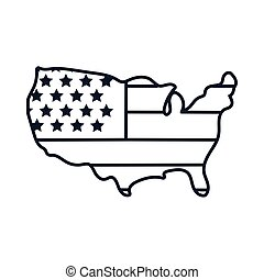 usa map with flag line style