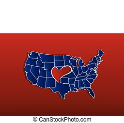 USA Map with love heart vector icon logo