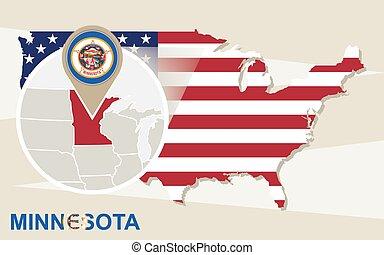 USA map with magnified Minnesota State. Minnesota flag and map.