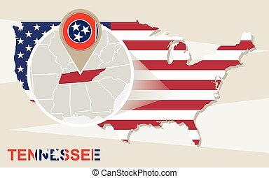 USA map with magnified Tennessee State. Tennessee flag and map.