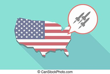USA map with missiles