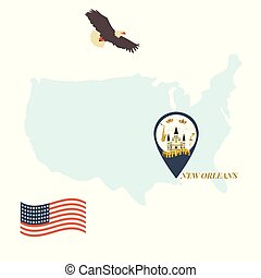 USA map with New Orleans Pin Travel Concept