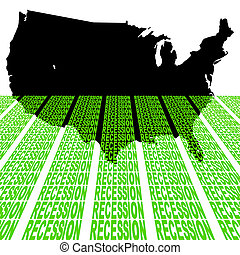 USA map with recession text - USA map sinking into recession...