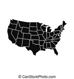 USA map with states icon
