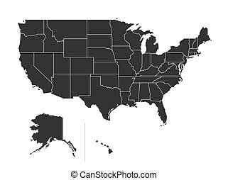 USA map with states isolated on a white background. United State