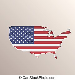 USA map with United States flag