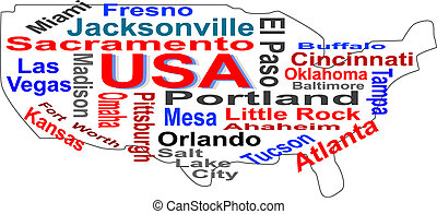 USA map words cloud with larger american cities