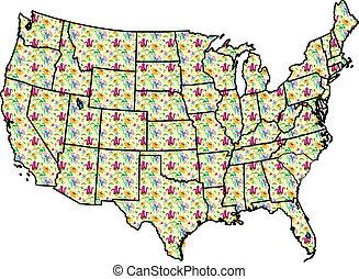 USA Map Yellow