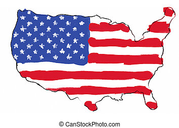 USA map/flag - USA map with flag in it; hand painted in...
