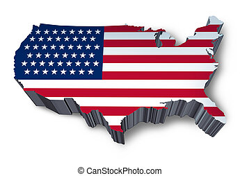 U.S.A. mapped flag in 3D representing politics and patriotism.