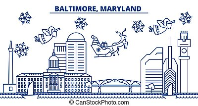 USA, Maryland , Baltimore winter city skyline. Merry Christmas and Happy New Year decorated banner. Winter greeting card with snow and Santa Claus. Flat, line vector. Linear christmas illustration