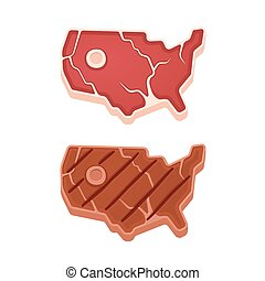 USA meat steak - Beef steak in shape of USA map, raw and...