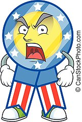 USA medal cartoon character design with angry face