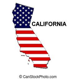 usa, megállapít of california, alatt, cillagos és sávos lobogó, tervezés