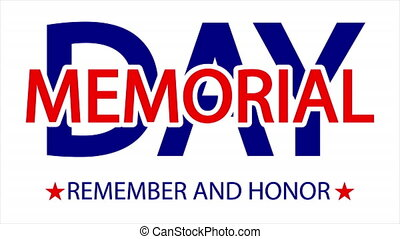 USA Memorial Day lettering typographic text, art video illustration.