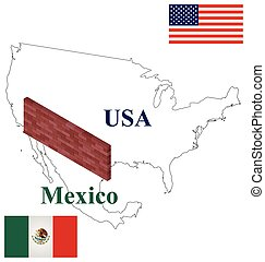 usa mexican border control outline usa mexico map with