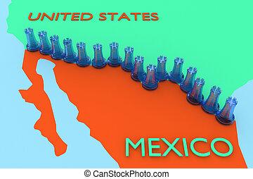 USA Mexico Wall concept
