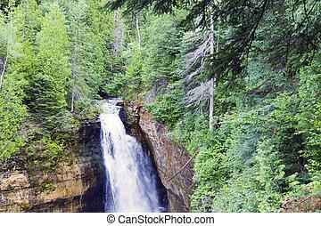 usa, michigan, vízesés, zöld erdő