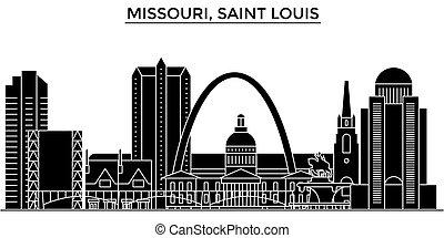 Usa, Missouri, Saint Louis architecture vector city skyline, black cityscape with landmarks, isolated sights on background