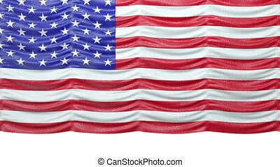 USA mock croc Flag curtain up. Alpha is included. Rewind to drop