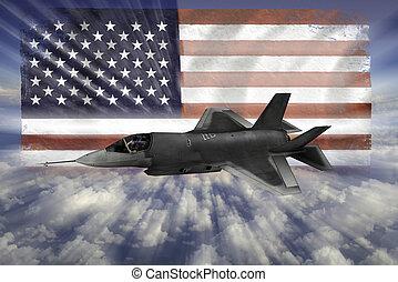 usa, modern, lopva, lobogó, flighter, f-35