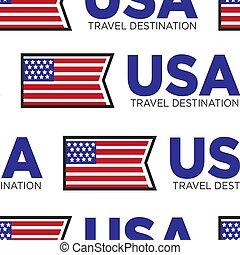 usa, motívum, utazás célállomás, seamless, lobogó, nemzeti