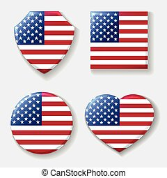 Usa national flag emblem set