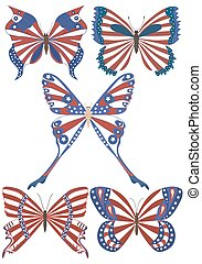 USA national flag on butterfly