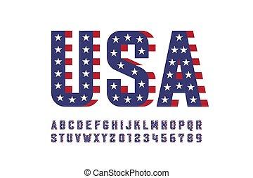 USA national flag style font