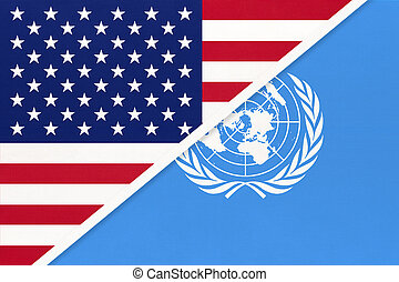 USA national flag vs United Nations UN official flag. International community of world.