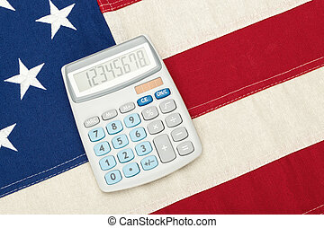 USA National flag with calculator over it