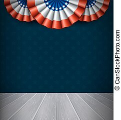 USA National Flags and Wooden Scene on Blue