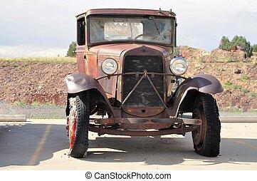 USA, naufrage,  Arizona, voiture, parcours, rouillé,  66