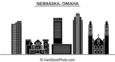 Usa, Nebraska, Omaha architecture vector city skyline,...