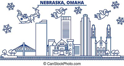 USA, Nebraska , Omaha winter city skyline. Merry Christmas...