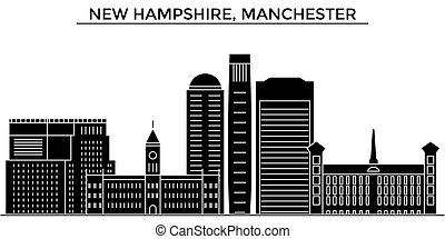 Usa, New Hampshire, Manchester architecture vector city skyline, travel cityscape with landmarks, buildings, isolated sights on background