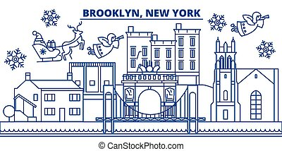 USA, New York, Brooklyn winter city skyline. Merry Christmas and Happy New Year decorated banner. Winter greeting card with snow and Santa Claus. Flat, line vector. Linear christmas illustration
