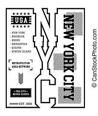 USA New York City typography design