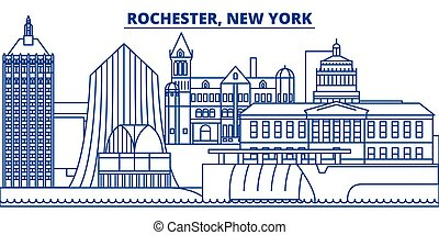 USA, New York, Rochester winter city skyline. Merry Christmas and Happy New Year decorated banner. Winter greeting card with snow and Santa Claus. Flat, line vector. Linear christmas illustration