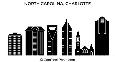 Usa, North Carolina, Charlotte architecture vector city skyline, travel cityscape with landmarks, buildings, isolated sights on background
